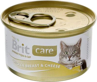 Brit Консервы для кошек куриная гудка с сыром Brit Care